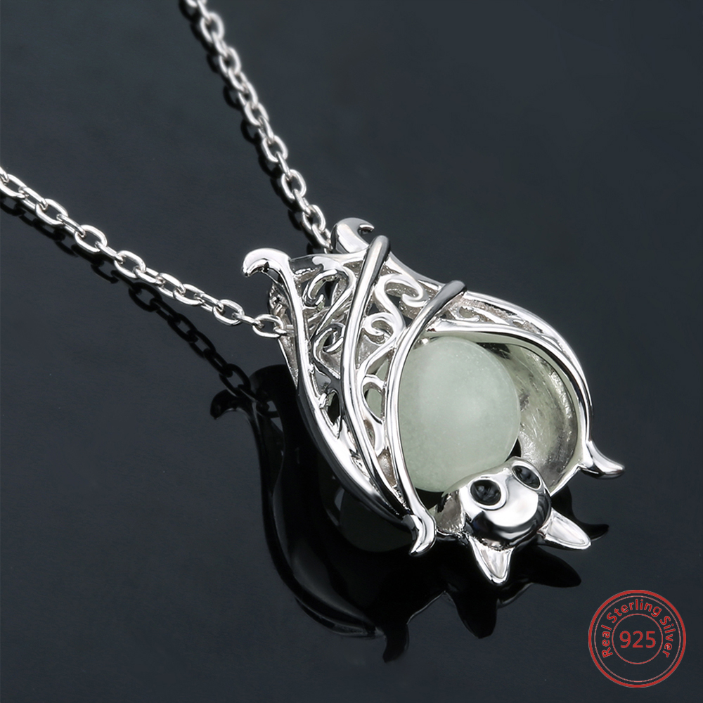 925 sterling silver chain glowing animal pendant fuxom 925 sterling silver chain luminous pendant necklace girl mozeypictures Images