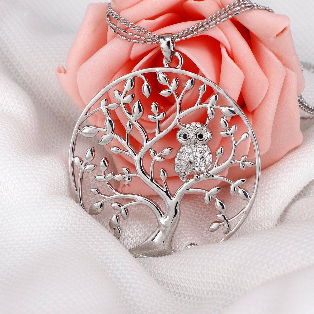Owl pendant necklace fuxom owl pendant necklace jewelry accessory women fashion silver aloadofball Image collections