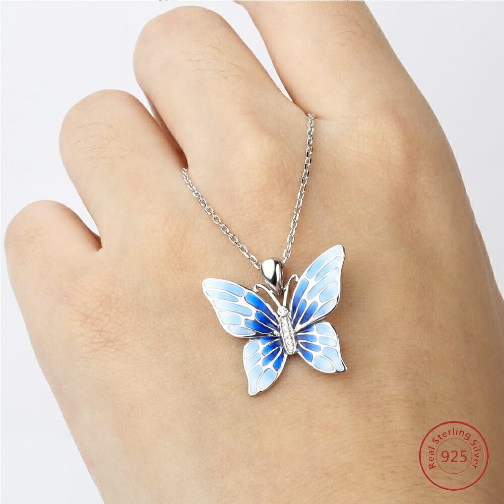 morpho butterfly necklace listing blue pendant il