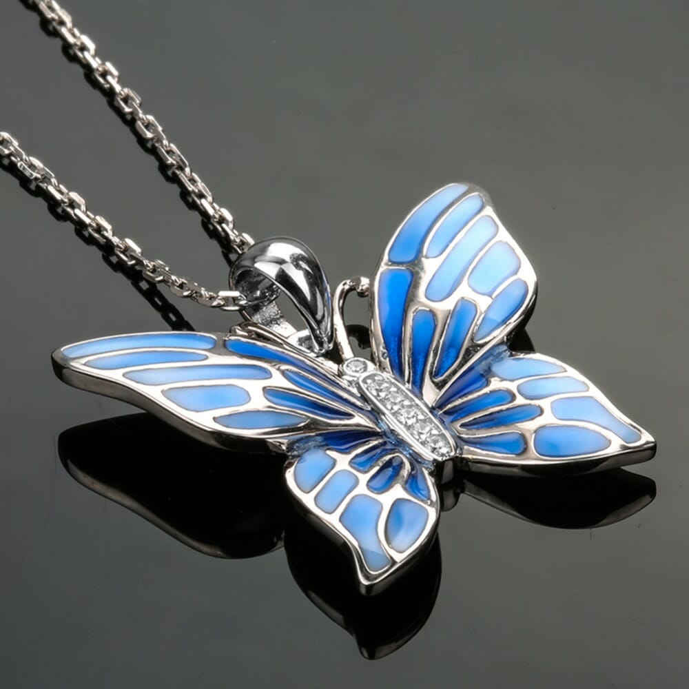 925 Sterling Silver Chain Blue Butterfly Necklaces & Pendants