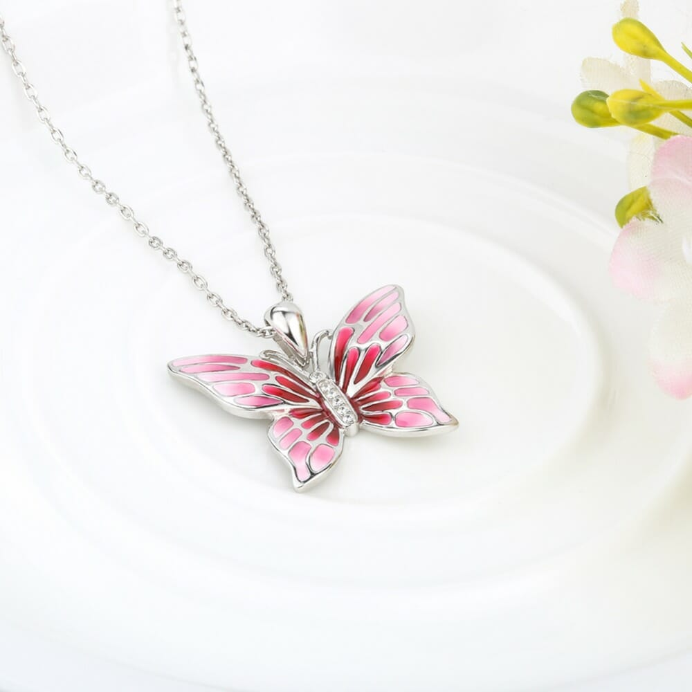 925 Sterling Silver Chain Pendant Necklace Fashion Jewelry Pink Butterfly  Necklaces & Pendants