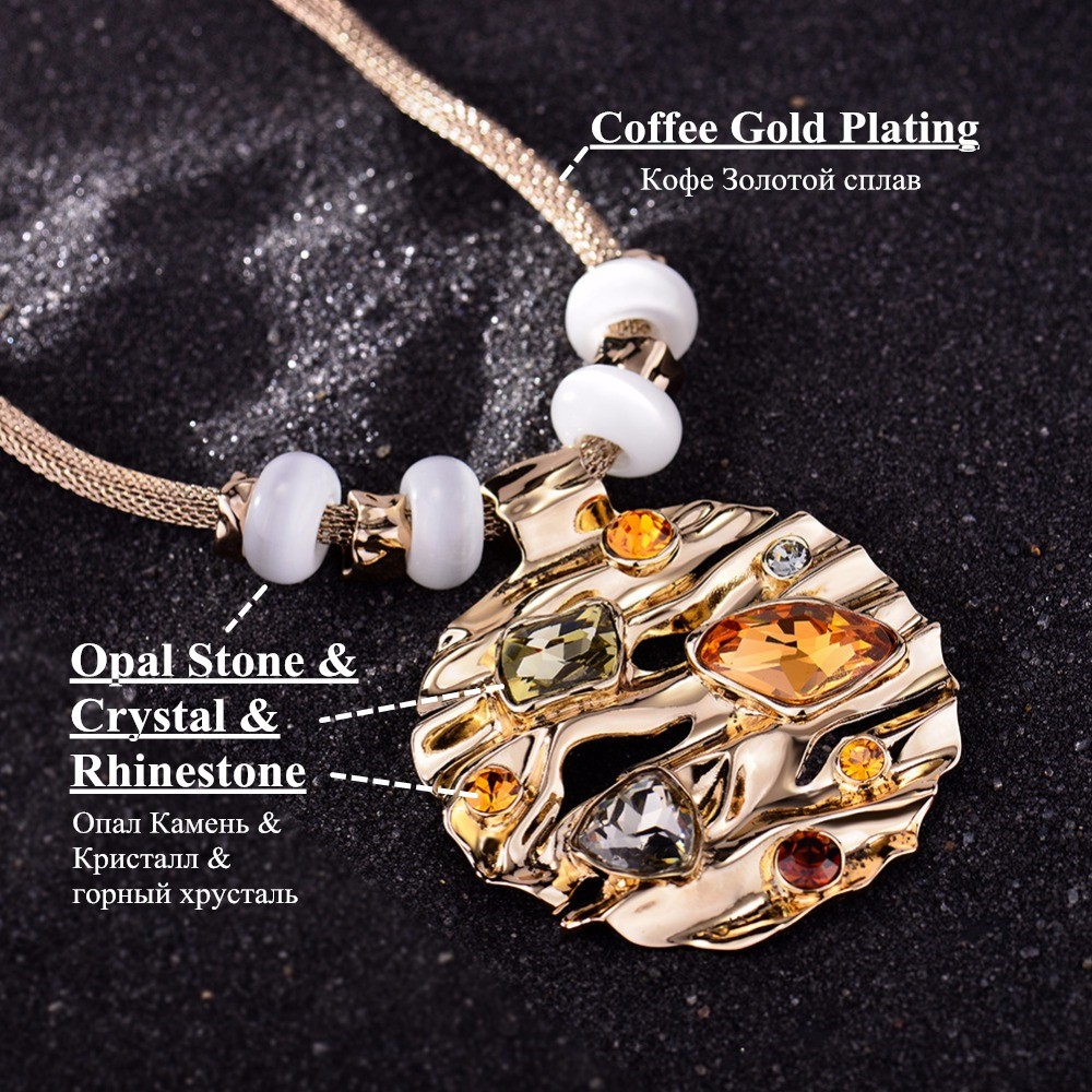 Coffee gold color round pendant for woman with large crystal hot viennois coffee gold color round pendant necklace aloadofball Gallery