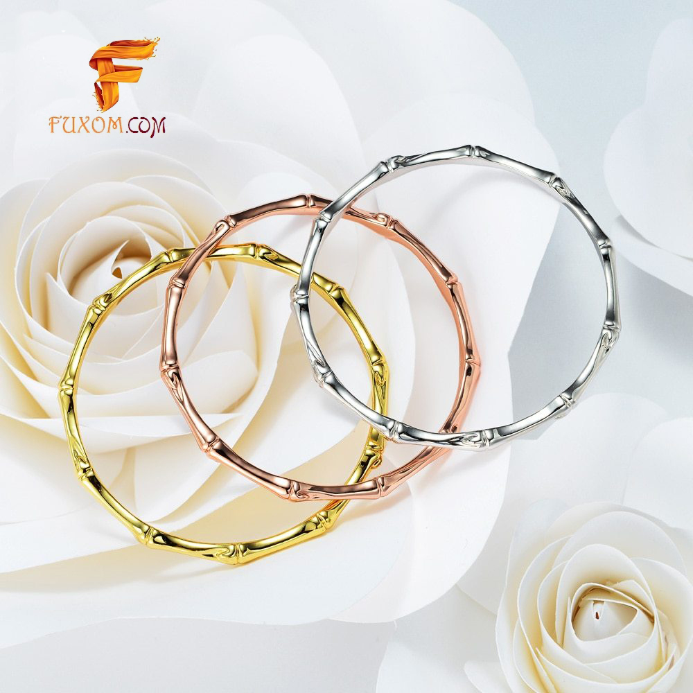Minimalist Skinny Bamboo Shape Bangles in Gold/Rose Gold and Silver Color