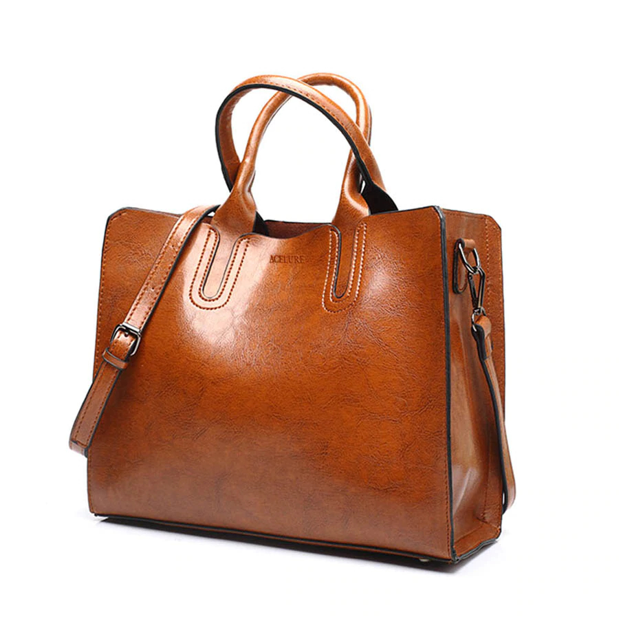 High Quality Leather Casual Women Bags with Trunk Tote Spanish Brand Shoulder Bag for Ladies