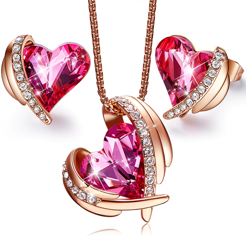 Pink Angel Rose Gold Heart Jewelry Set Embellished with crystals from Swarovski, Necklace Set For Girlfriend/Mother (Copy)