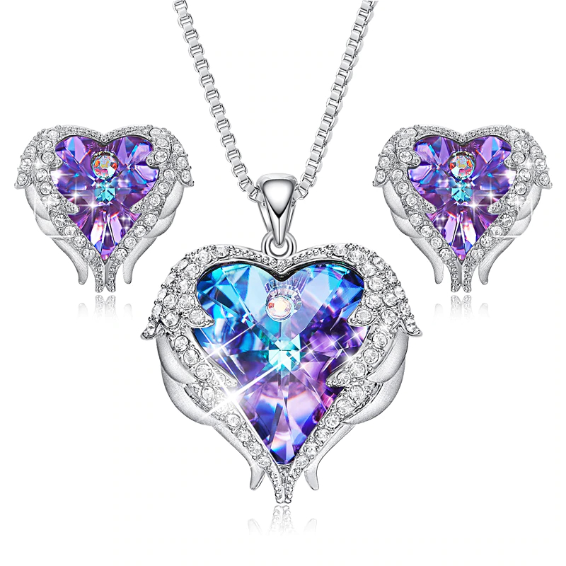 Angel Wings Heart Crystals from Swarovski Necklace & Earrings Jewelry for Mothers Day Gift
