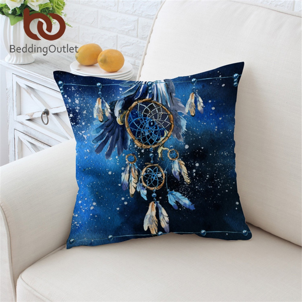 Feather Blue Galaxy Pillow Cover